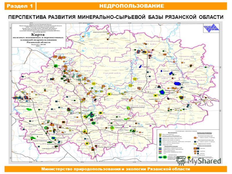 Раздел 1НЕДРОПОЛЬЗОВАНИЕ Министерство природопользования и экологии Рязанской области ПЕРСПЕКТИВА РАЗВИТИЯ МИНЕРАЛЬНО-СЫРЬЕВОЙ БАЗЫ РЯЗАНСКОЙ ОБЛАСТИ