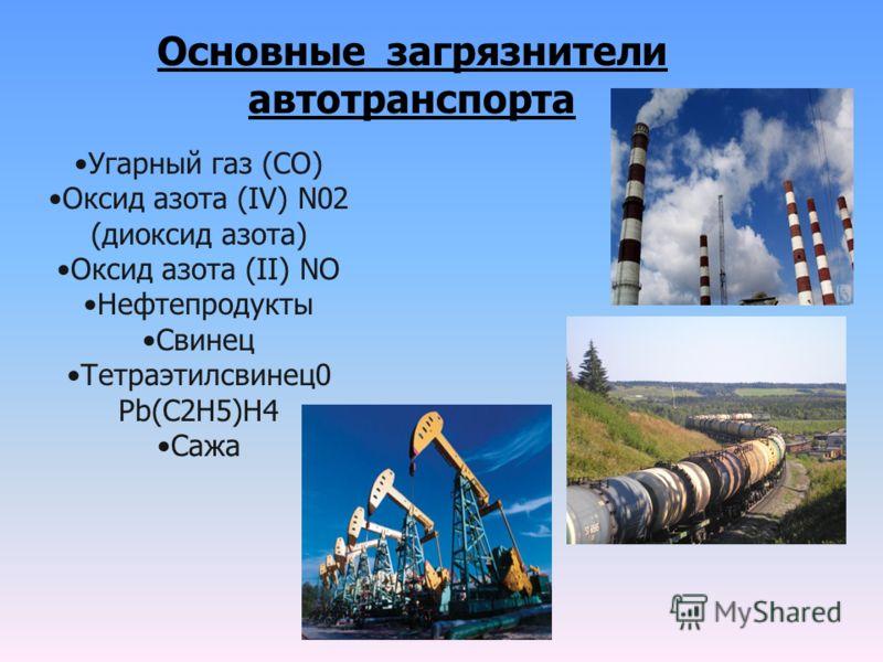 Угарный газ (CO) Оксид азота (IV) N02 (диоксид азота) Оксид азота (II) NO Нефтепродукты Свинец Тетраэтилсвинец0 Рb(C2H5)H4 Сажа Основные загрязнители автотранспорта