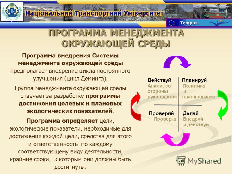 ПРОГРАММА МЕНЕДЖМЕНТА ОКРУЖАЮЩЕЙ СРЕДЫ Программа внедрения Системы менеджмента окружающей среды предполагает внедрение цикла постоянного улучшения (цикл Деминга). Группа менеджмента окружающей среды отвечает за разработку программы достижения целевых