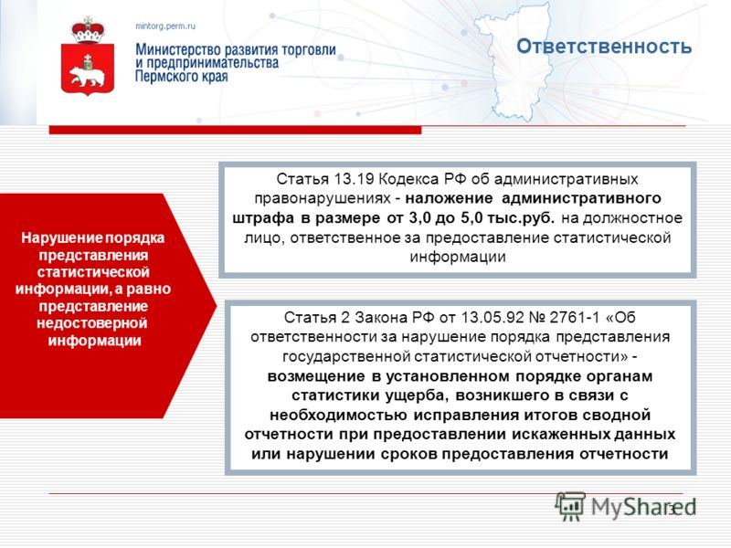 3 Ответственность Статья 2 Закона РФ от 13.05.92 2761-1 «Об ответственности за нарушение порядка представления государственной статистической отчетности» - возмещение в установленном порядке органам статистики ущерба, возникшего в связи с необходимос