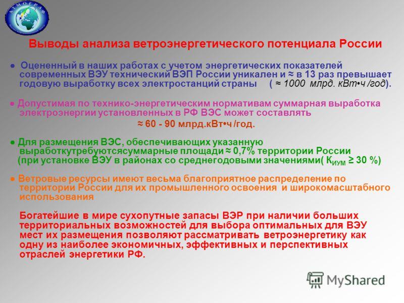 Выводы анализа ветроэнергетического потенциала России Оцененный в наших работах с учетом энергетических показателей современных ВЭУ технический ВЭП России уникален и в 13 раз превышает годовую выработку всех электростанций страны ( 1000 млрд. кВтч /г