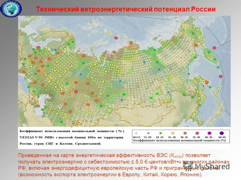 Технический ветроэнергетический потенциал России Приведенная на карте энергетическая эффективность ВЭС (К ИУМ ) позволяет получать электроэнергию с себестоимостью 5,0 -центов/кВтч во многих районах РФ, включая энергодефицитную европейскую часть РФ и