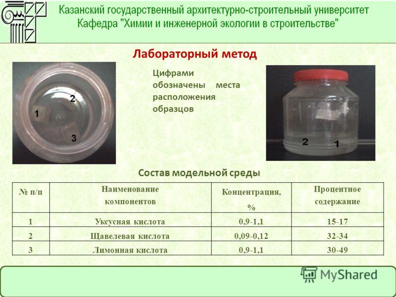 Лабораторный метод Цифрами обозначены места расположения образцов Состав модельной среды п/п Наименование компонентов Концентрация, % Процентное содержание 1Уксусная кислота0,9-1,115-17 2Щавелевая кислота0,09-0,1232-34 3Лимонная кислота0,9-1,130-49