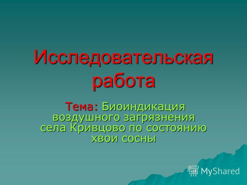 Исследовательская работа Тема: Биоиндикация воздушного загрязнения села Кривцово по состоянию хвои сосны