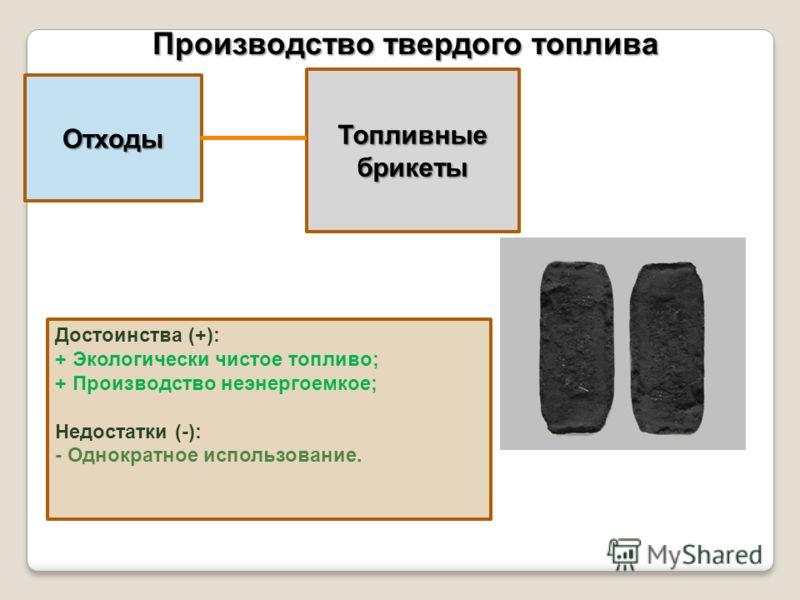 Отходы Производство твердого топлива Топливные брикеты Достоинства (+): + Экологически чистое топливо; + Производство неэнергоемкое; Недостатки (-): - Однократное использование.