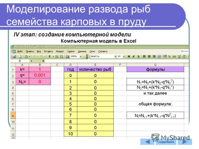 Моделирование развода рыб семейства карповых в пруду Компьютерная модель в Excel IV этап: создание компьютерной модели содержание