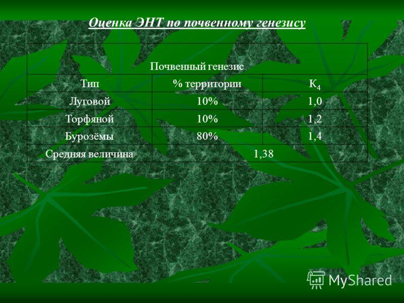 Оценка ЭНТ по почвенному генезису Почвенный генезис Тип% территорииК4К4 Луговой10%1,0 Торфяной10%1,2 Бурозёмы80%1,4 Средняя величина 1,38
