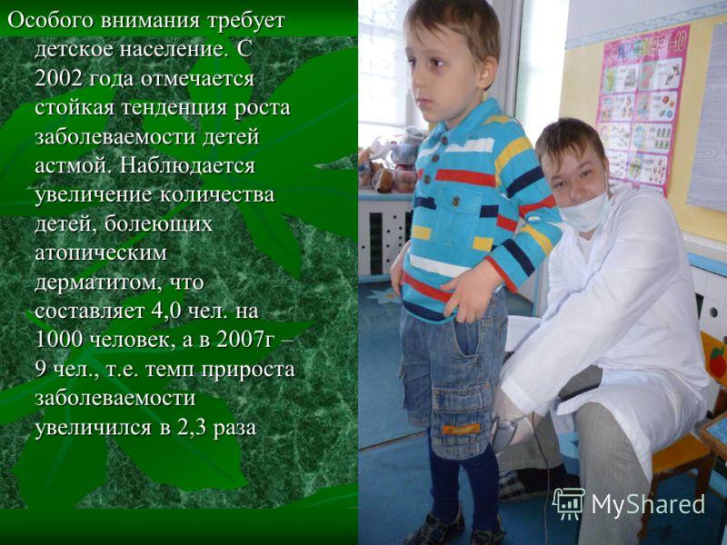 Особого внимания требует детское население. С 2002 года отмечается стойкая тенденция роста заболеваемости детей астмой. Наблюдается увеличение количества детей, болеющих атопическим дерматитом, что составляет 4,0 чел. на 1000 человек, а в 2007г – 9 ч