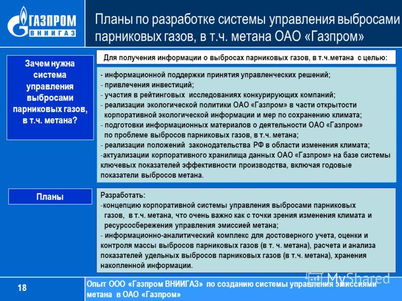 Планы по разработке системы управления выбросами парниковых газов, в т.ч. метана ОАО «Газпром» Опыт ООО «Газпром ВНИИГАЗ» по созданию системы управления эмиссиями метана в ОАО «Газпром» - информационной поддержки принятия управленческих решений; - пр