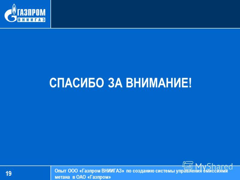 СПАСИБО ЗА ВНИМАНИЕ! Опыт ООО «Газпром ВНИИГАЗ» по созданию системы управления эмиссиями метана в ОАО «Газпром» 19