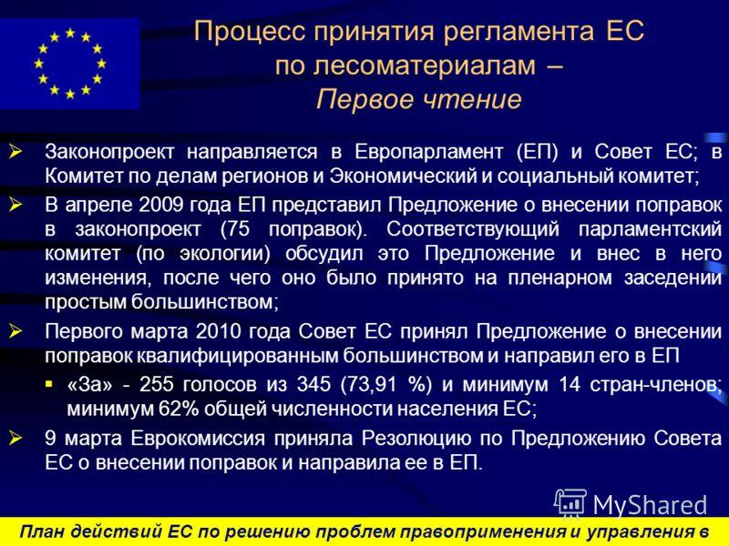 План действий ЕС по решению проблем правоприменения и управления в лесном секторе и торговли лесоматериалами Процесс принятия регламента ЕС по лесоматериалам – Первое чтение Законопроект направляется в Европарламент (ЕП) и Совет ЕС; в Комитет по дела