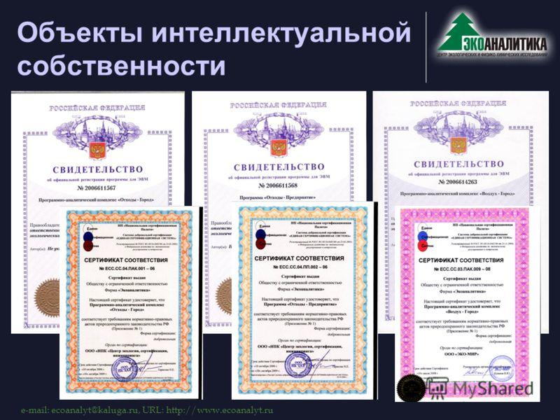 e-mail: ecoanalyt@kaluga.ru, URL: http://www.ecoanalyt.ru Объекты интеллектуальной собственности