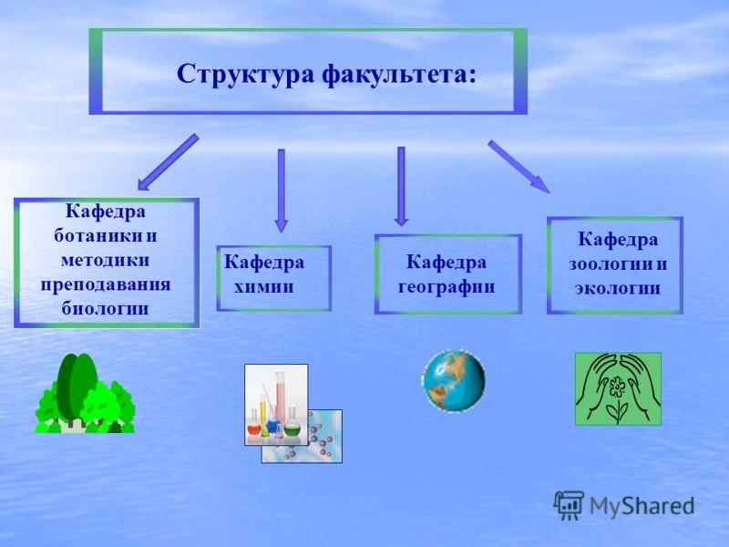Структура факультета: Кафедра химии Кафедра ботаники и методики преподавания биологии Кафедра зоологии и экологии Кафедра географии