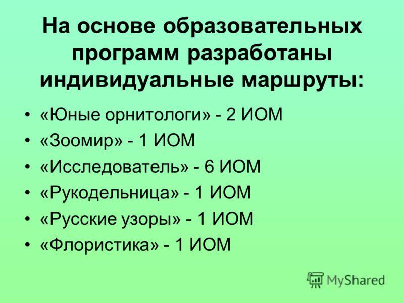 На основе образовательных программ разработаны индивидуальные маршруты: «Юные орнитологи» - 2 ИОМ «Зоомир» - 1 ИОМ «Исследователь» - 6 ИОМ «Рукодельница» - 1 ИОМ «Русские узоры» - 1 ИОМ «Флористика» - 1 ИОМ