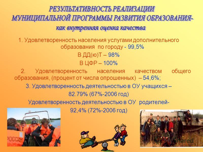 1. Удовлетворенность населения услугами дополнительного образования по городу - 99,5% В ДД(ю)Т – 98% В ЦФР – 100% 2. Удовлетворенность населения качеством общего образования, (процент от числа опрошенных) – 54,6%; 3. Удовлетворенность деятельностью в