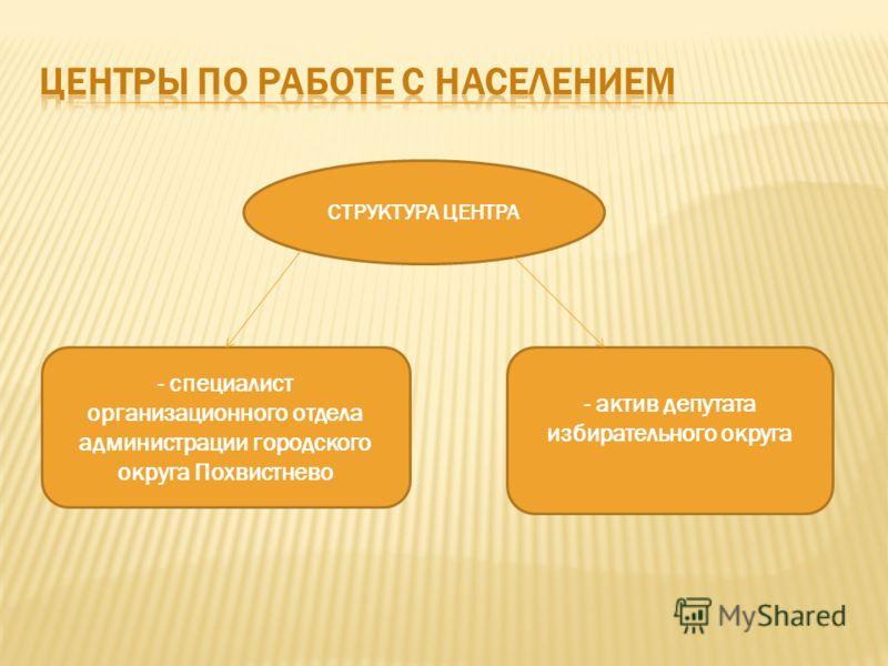 СТРУКТУРА ЦЕНТРА - специалист организационного отдела администрации городского округа Похвистнево - актив депутата избирательного округа