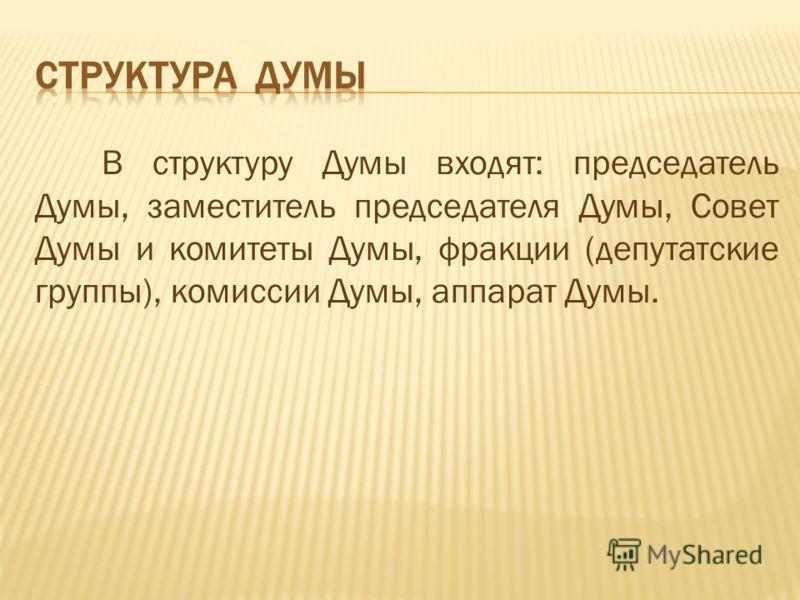 В структуру Думы входят: председатель Думы, заместитель председателя Думы, Совет Думы и комитеты Думы, фракции (депутатские группы), комиссии Думы, аппарат Думы.