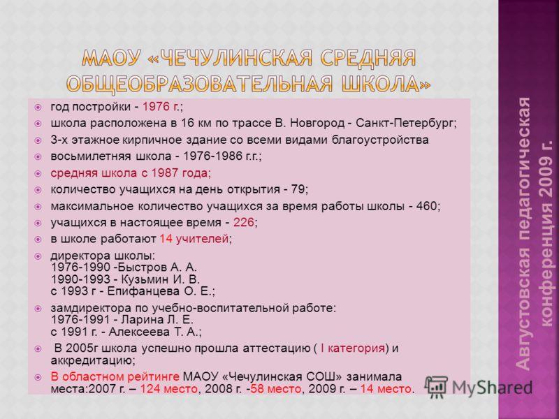 год постройки - 1976 г.; школа расположена в 16 км по трассе В. Новгород - Санкт-Петербург; 3-х этажное кирпичное здание со всеми видами благоустройства восьмилетняя школа - 1976-1986 г.г.; средняя школа с 1987 года; количество учащихся на день откры