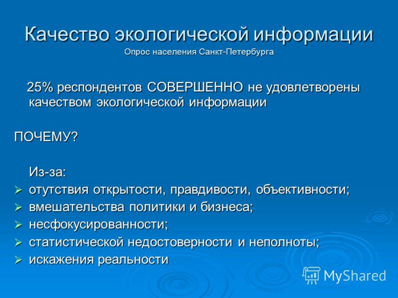 Качество экологической информации Опрос населения Санкт-Петербурга 25% респондентов СОВЕРШЕННО не удовлетворены качеством экологической информации 25% респондентов СОВЕРШЕННО не удовлетворены качеством экологической информации ПОЧЕМУ? Из-за: отутстви