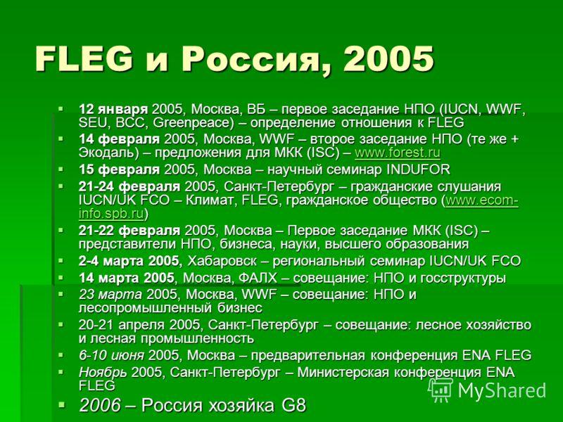 FLEG и Россия, 2005 12 января 2005, Москва, ВБ – первое заседание НПО (IUCN, WWF, SEU, BCC, Greenpeace) – определение отношения к FLEG 12 января 2005, Москва, ВБ – первое заседание НПО (IUCN, WWF, SEU, BCC, Greenpeace) – определение отношения к FLEG