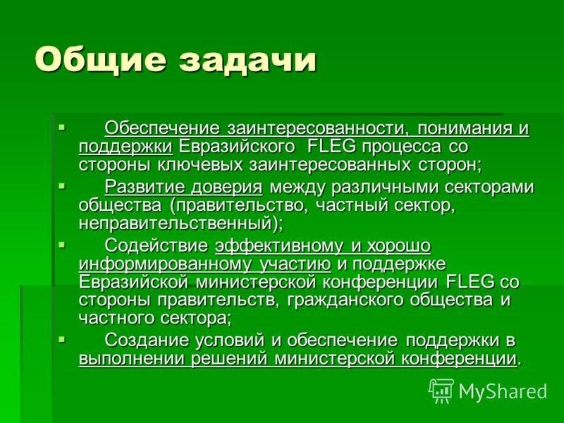 Общие задачи Обеспечение заинтересованности, понимания и поддержки Евразийского FLEG процесса со стороны ключевых заинтересованных сторон; Обеспечение заинтересованности, понимания и поддержки Евразийского FLEG процесса со стороны ключевых заинтересо