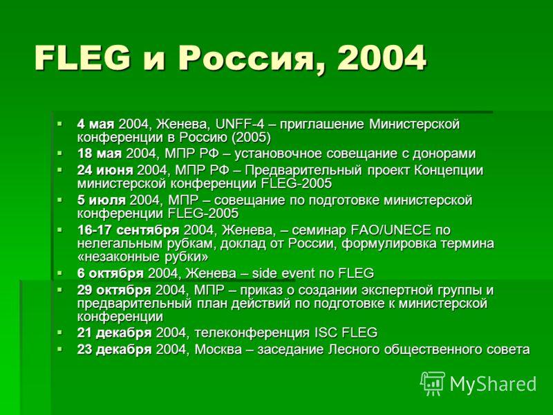 FLEG и Россия, 2004 4 мая 2004, Женева, UNFF-4 – приглашение Министерской конференции в Россию (2005) 4 мая 2004, Женева, UNFF-4 – приглашение Министерской конференции в Россию (2005) 18 мая 2004, МПР РФ – установочное совещание с донорами 18 мая 200