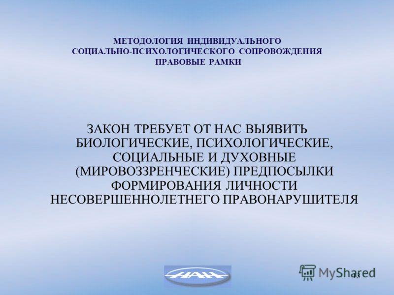 13 МЕТОДОЛОГИЯ ИНДИВИДУАЛЬНОГО СОЦИАЛЬНО-ПСИХОЛОГИЧЕСКОГО СОПРОВОЖДЕНИЯ ПРАВОВЫЕ РАМКИ ЗАКОН ТРЕБУЕТ ОТ НАС ВЫЯВИТЬ БИОЛОГИЧЕСКИЕ, ПСИХОЛОГИЧЕСКИЕ, СОЦИАЛЬНЫЕ И ДУХОВНЫЕ (МИРОВОЗЗРЕНЧЕСКИЕ) ПРЕДПОСЫЛКИ ФОРМИРОВАНИЯ ЛИЧНОСТИ НЕСОВЕРШЕННОЛЕТНЕГО ПРАВОН