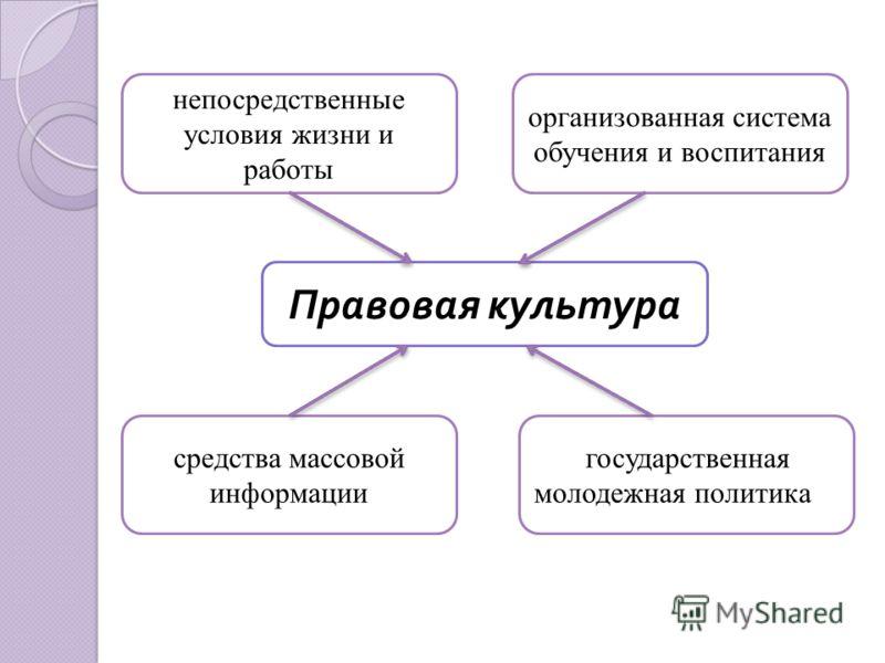 непосредственные условия жизни и работы Правовая культура организованная система обучения и воспитания средства массовой информации государственная молодежная политика
