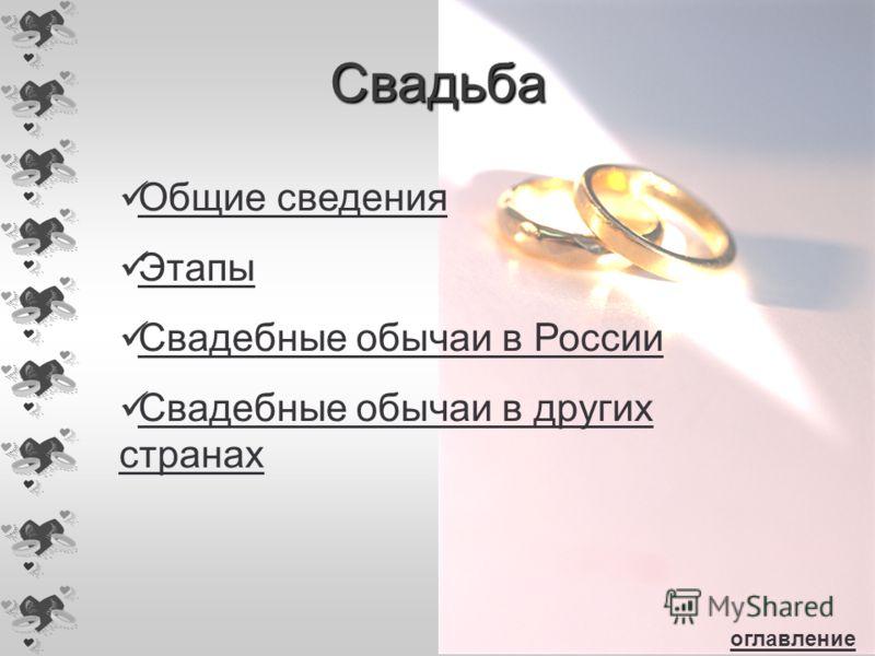 Свадьба Общие сведения Этапы Свадебные обычаи в России Свадебные обычаи в других странах Свадебные обычаи в других странах оглавление