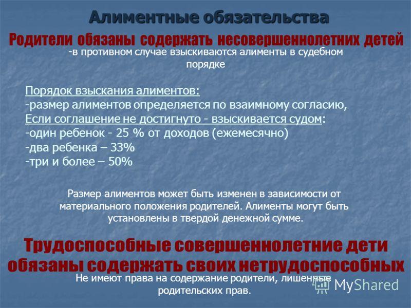 Алиментные обязательства Алиментные обязательства -в противном случае взыскиваются алименты в судебном порядке Порядок взыскания алиментов: -размер алиментов определяется по взаимному согласию, Если соглашение не достигнуто - взыскивается судом: -оди