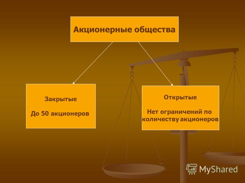 Акционерные общества Закрытые До 50 акционеров Открытые Нет ограничений по количеству акционеров