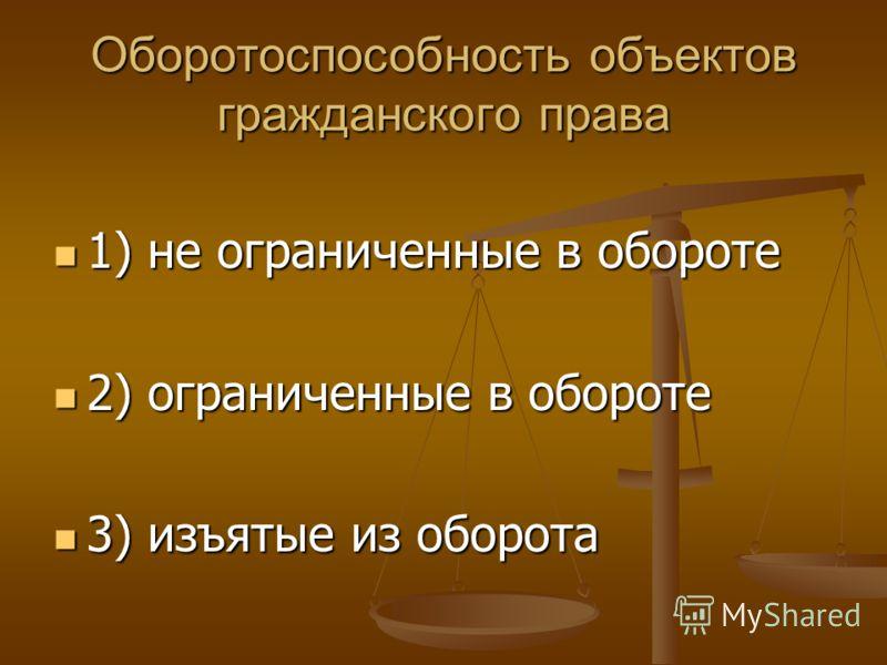 Оборотоспособность объектов гражданского права 1) не ограниченные в обороте 1) не ограниченные в обороте 2) ограниченные в обороте 2) ограниченные в обороте 3) изъятые из оборота 3) изъятые из оборота