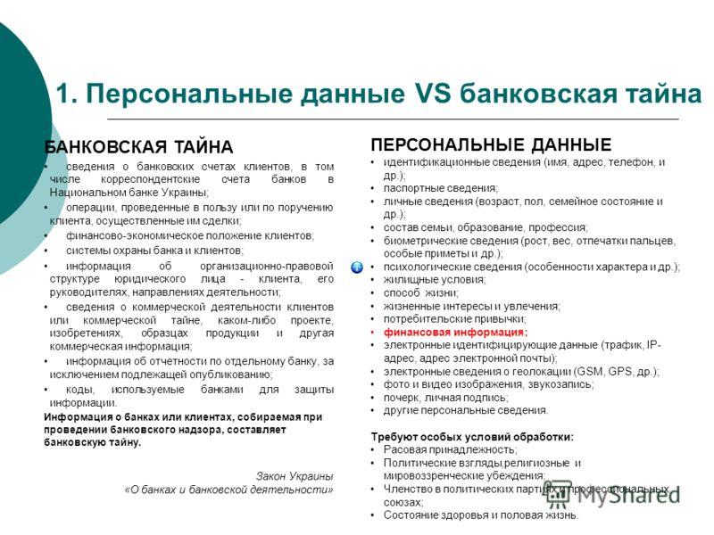 1. Персональные данные VS банковская тайна БАНКОВСКАЯ ТАЙНА сведения о банковских счетах клиентов, в том числе корреспондентские счета банков в Национальном банке Украины; операции, проведенные в пользу или по поручению клиента, осуществленные им сде