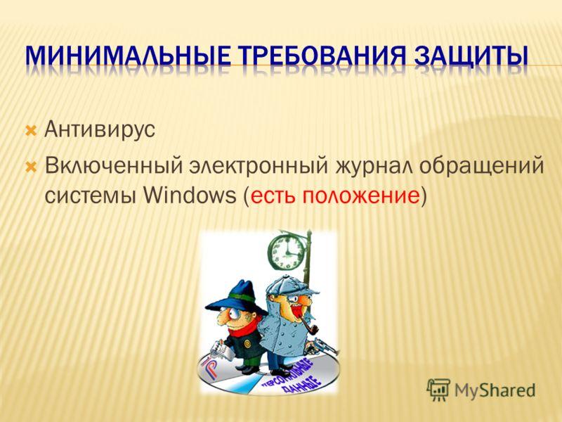 Антивирус Включенный электронный журнал обращений системы Windows (есть положение)
