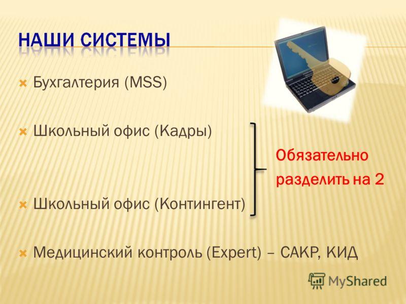 Бухгалтерия (MSS) Школьный офис (Кадры) Обязательно разделить на 2 Школьный офис (Контингент) Медицинский контроль (Еxpert) – САКР, КИД