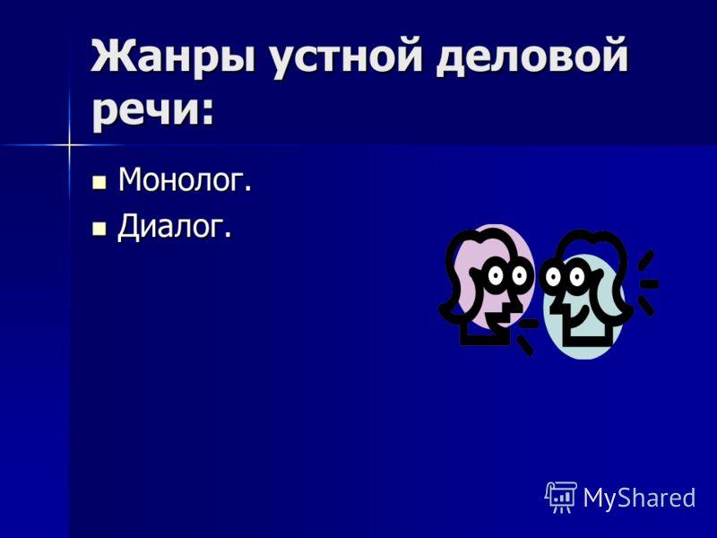 Жанры устной деловой речи: Монолог. Монолог. Диалог. Диалог.