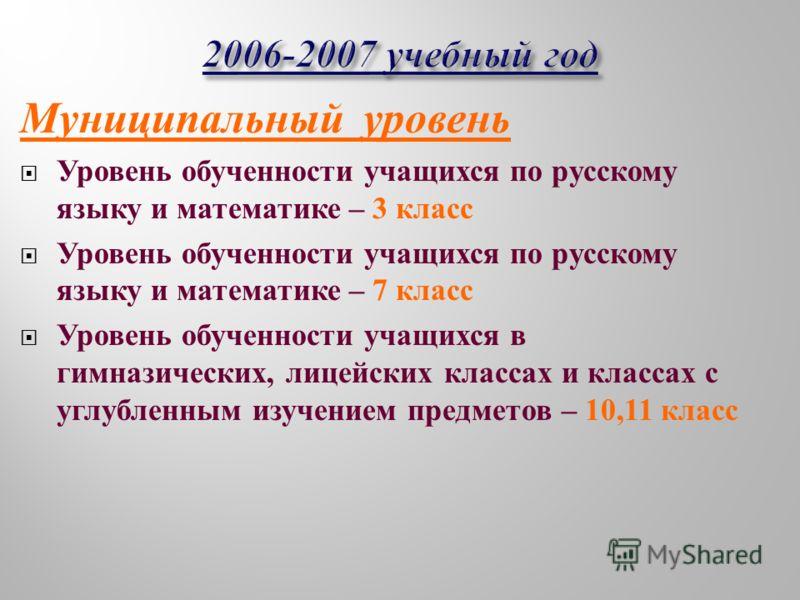 Муниципальный уровень Уровень обученности учащихся по русскому языку и математике – 3 класс Уровень обученности учащихся по русскому языку и математике – 7 класс Уровень обученности учащихся в гимназических, лицейских классах и классах с углубленным