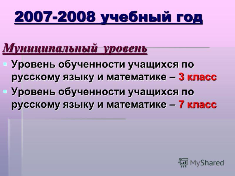 2007-2008 учебный год Муниципальный уровень Уровень обученности учащихся по русскому языку и математике – 3 класс Уровень обученности учащихся по русскому языку и математике – 3 класс Уровень обученности учащихся по русскому языку и математике – 7 кл