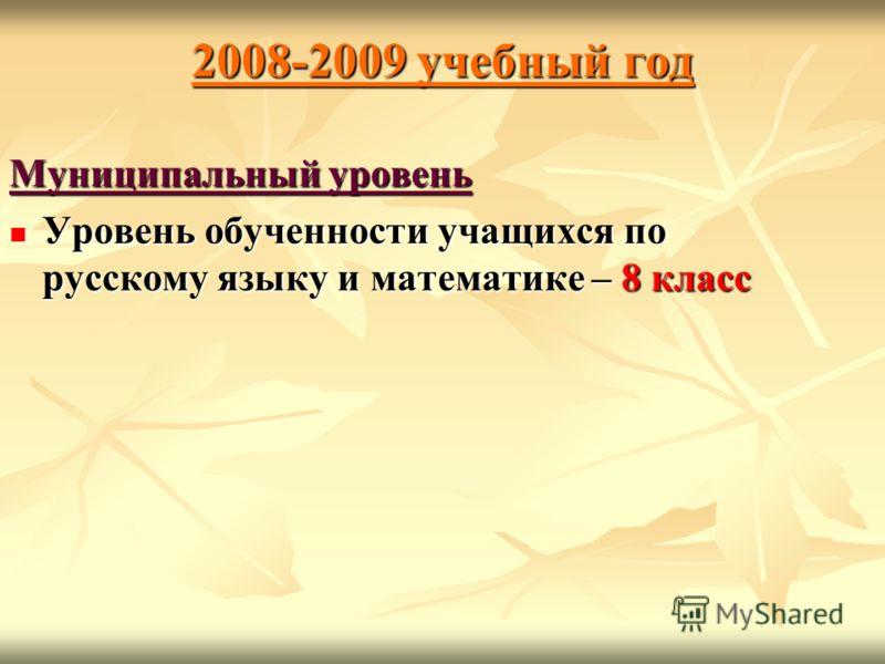 2008-2009 учебный год Муниципальный уровень Уровень обученности учащихся по русскому языку и математике – 8 класс Уровень обученности учащихся по русскому языку и математике – 8 класс