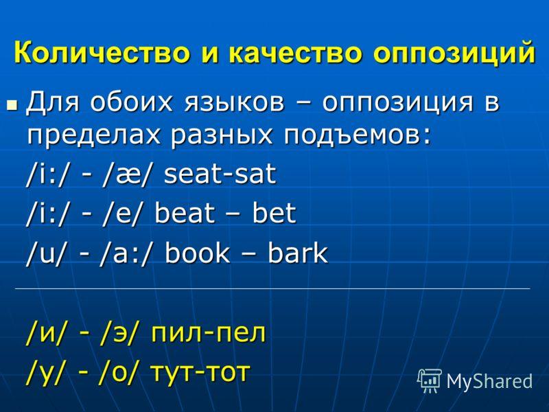 Количество и качество оппозиций Для обоих языков – оппозиция в пределах разных подъемов: Для обоих языков – оппозиция в пределах разных подъемов: /i:/ - /æ/ seat-sat /i:/ - /e/ beat – bet /u/ - /a:/ book – bark /и/ - /э/ пил-пел /у/ - /о/ тут-тот