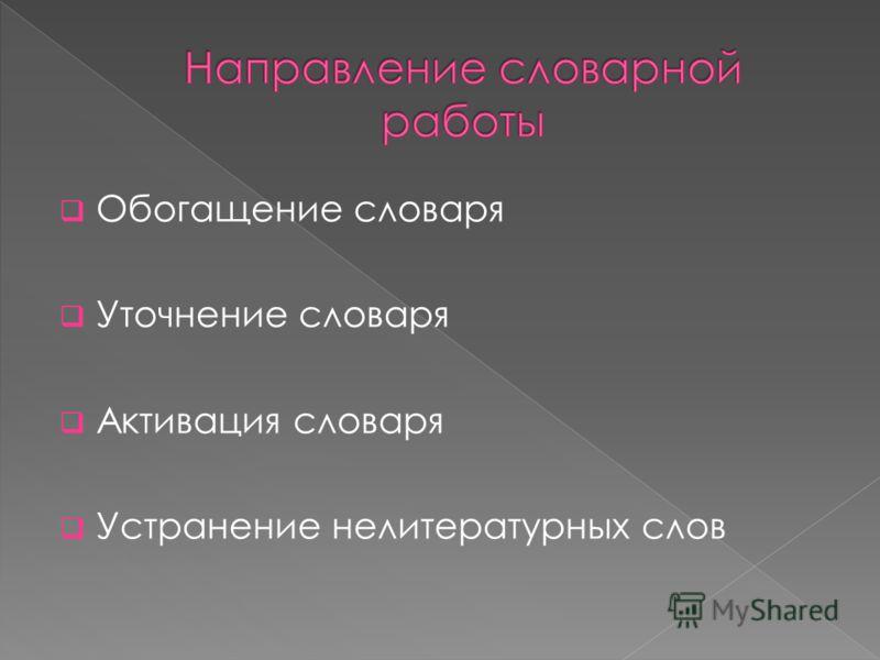 Обогащение словаря Уточнение словаря Активация словаря Устранение нелитературных слов