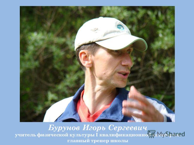 Бурунов Игорь Сергеевич учитель физической культуры I квалификационной категории, главный тренер школы