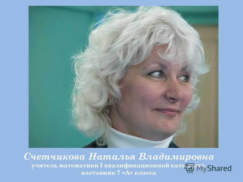 Счетчикова Наталья Владимировна учитель математики I квалификационной категории, наставник 7 «А» класса