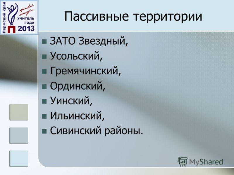 Пассивные территории ЗАТО Звездный, Усольский, Гремячинский, Ординский, Уинский, Ильинский, Сивинский районы.