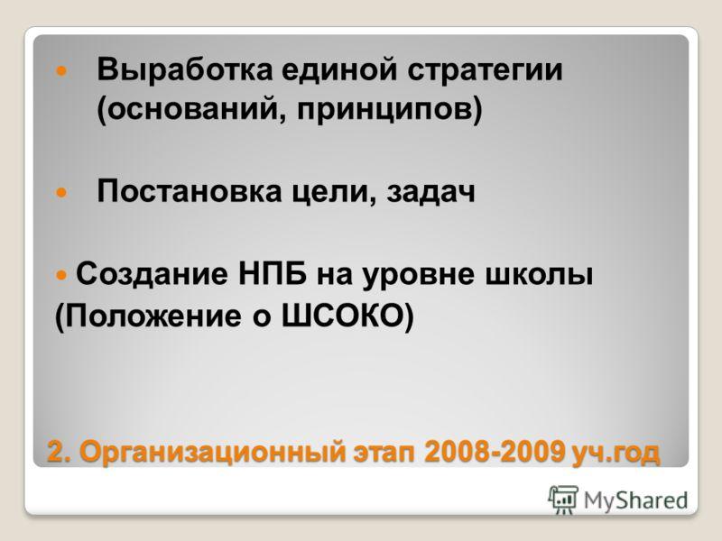 2. Организационный этап 2008-2009 уч.год Выработка единой стратегии (оснований, принципов) Постановка цели, задач Создание НПБ на уровне школы (Положение о ШСОКО)