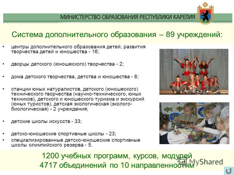 Система дополнительного образования – 89 учреждений: центры дополнительного образования детей, развития творчества детей и юношества - 16; дворцы детского (юношеского) творчества - 2; дома детского творчества, детства и юношества - 8; станции юных на