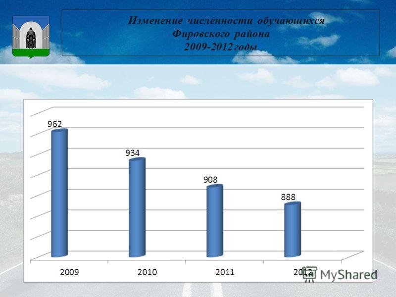 Изменение численности обучающихся Фировского района 2009-2012 годы