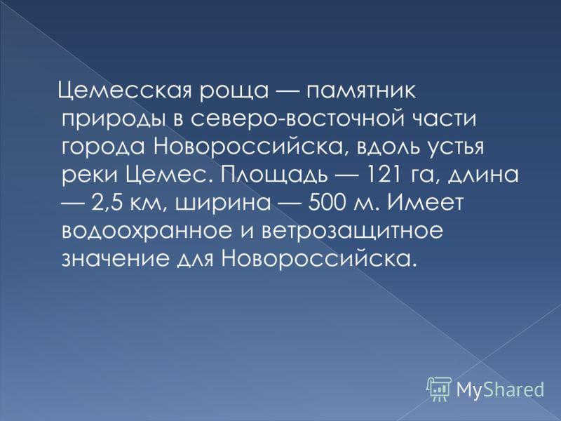 Цемесская роща памятник природы в северо-восточной части города Новороссийска, вдоль устья реки Цемес. Площадь 121 га, длина 2,5 км, ширина 500 м. Имеет водоохранное и ветрозащитное значение для Новороссийска.