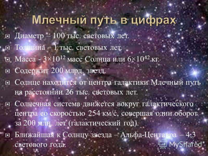 Диаметр – 100 тыс. световых лет. Толщина – 1 тыс. световых лет. Масса - 3×10 12 масс Солнца или 6×10 42 кг. Содержит 200 млрд. звезд. Солнце находится от центра галактики Млечный путь на расстоянии 26 тыс. световых лет. Солнечная система движется вок