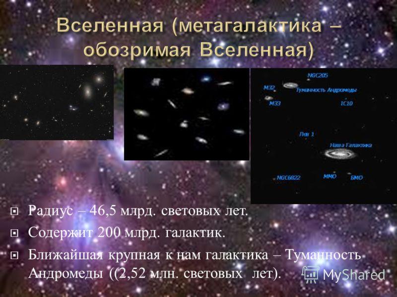 Радиус – 46,5 млрд. световых лет. Содержит 200 млрд. галактик. Ближайшая крупная к нам галактика – Туманность Андромеды ((2,52 млн. световых лет ).